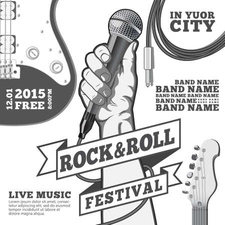 concierto de rock: Roca y el concepto de festival de rollo de cartel. Mano que sostiene un micrófono en un puño. Ilustración vectorial blanco y negro. técnicas mixtas. Vectores