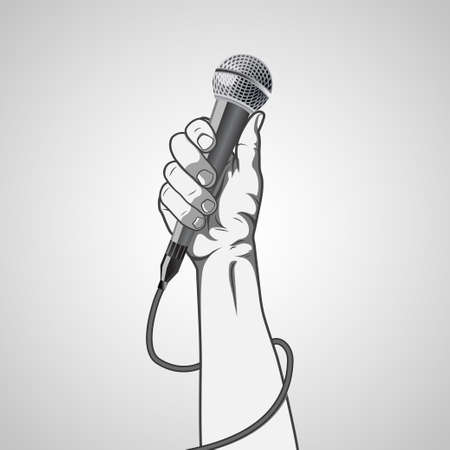 mike: hand holding a microphone in a fist.  vector illustration Illustration