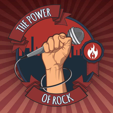 microphone: hand holding a microphone in a fist. the power of rock retro  poster. vector illustration. Illustration