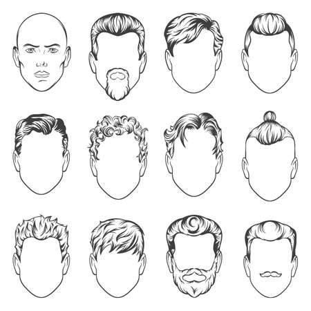 men hairstyles. vector illustration. hair men set Vettoriali