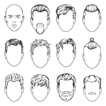 men hairstyles. vector illustration. hair men set Çizim