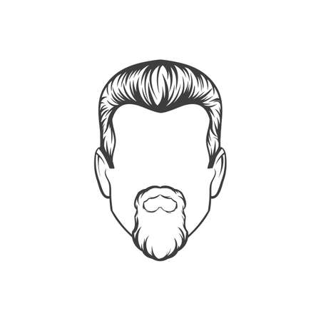 style goatee: Man haircut. Hand drawn  vector illustration.  Mans  Hairstyle