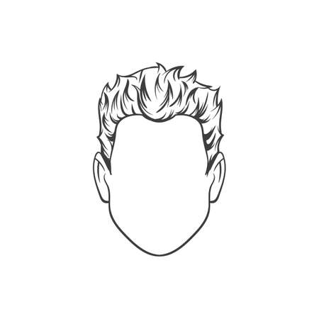 goatee: Man haircut. Hand drawn  vector illustration.  Mans  Hairstyle
