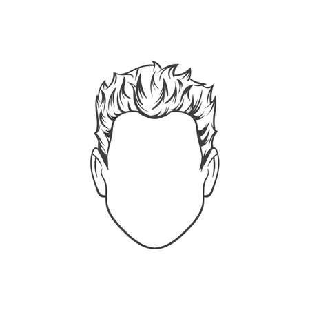 man haircut: Man haircut. Hand drawn  vector illustration.  Mans  Hairstyle