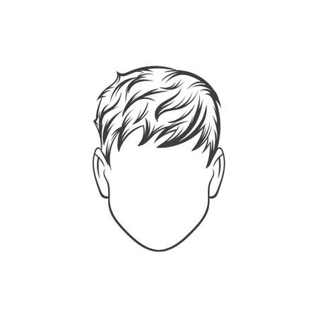 black head and moustache: Man haircut. Hand drawn  vector illustration.  Mans  Hairstyle