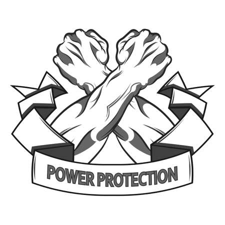 illustration in black and white   style of a clenched fist held high in protest Illustration