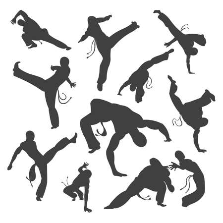 Isolated black and white silhouettes capoeira dancer Isolated on white. Vector illustration set for design.