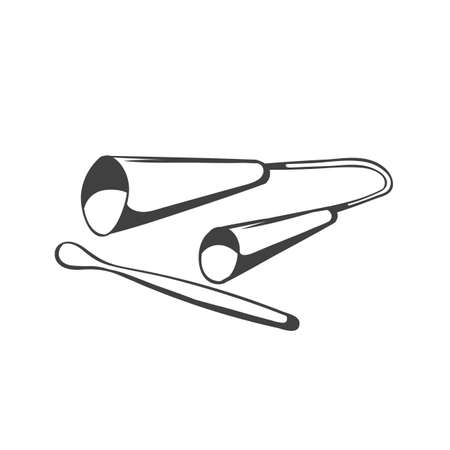 drawing instrument: Agogo.  traditional brazilian capoeira music instrument. hand drawing black and white style. Illustration