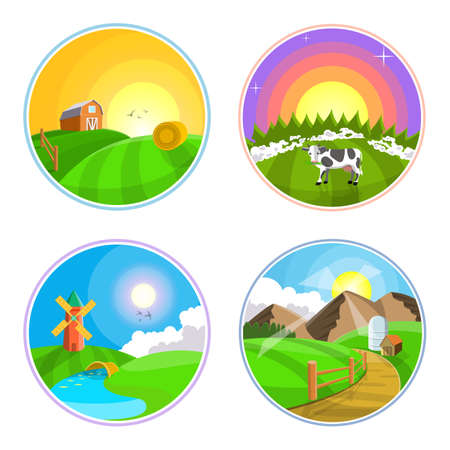 hay field: Countryside landscape with hay, field and village. Farm, rural landscape icon set. illustration