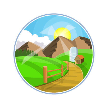 hilly: Countryside road landscape illustration. Rural areas with mountains, hills and fields. Nature pathway on farmland Illustration