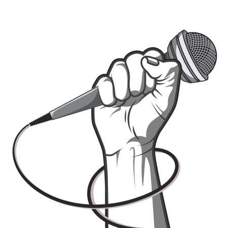 Main tenant un microphone dans un poing. illustration dans le style noir et blanc. Banque d'images - 54582148