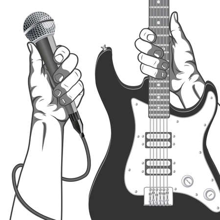 accord: Hands holding a microphone and a guitar. Black and white vintage illustration