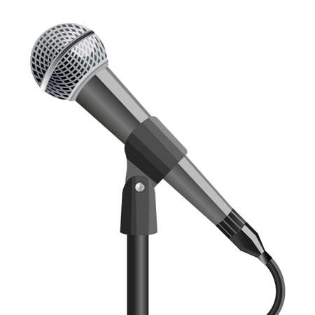 Microphone on stand, on white background. illustration