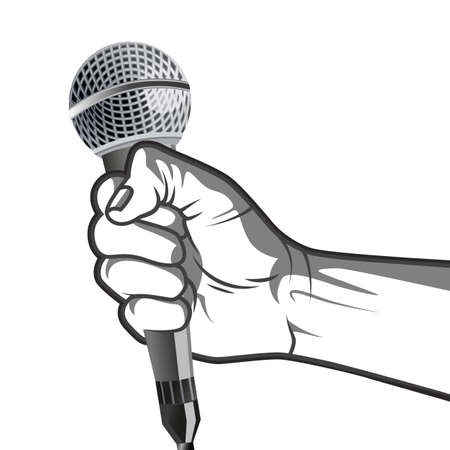 hand holding a microphone in a fist.  illustration in black and white  style.