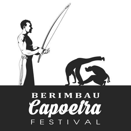 kick out: Capoeira dancer playing a instrument berimbau. Two capoeira dance fighter silhouette