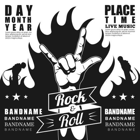 cuernos: cartel del festival de rock, con el rock n roll y signo de fuego.