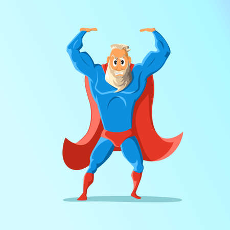 charismatic: Old charismatic hipster hero. hero in action. illustration