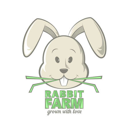 funy: Rabbit farm design. illustration of rabbit eating grass