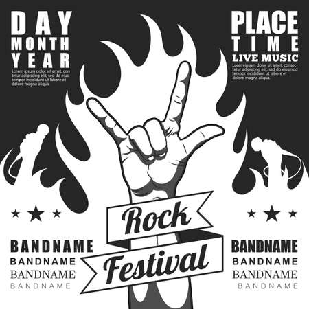 rock n: Rock festival poster, with rock n roll sign and fire.