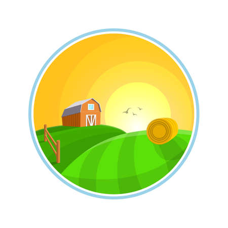 hay field: Countryside landscape illustration with hay, field and  village  Farm landscape icon Stock Photo