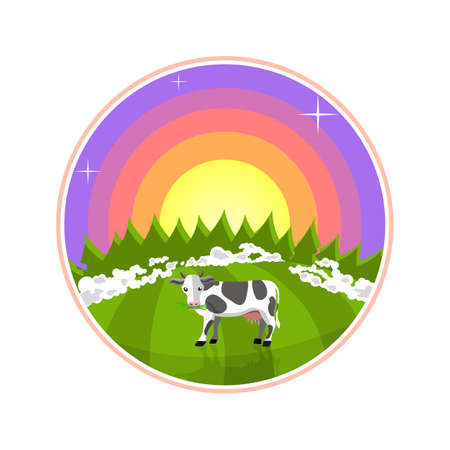 rural areas: Cartoon illustration of rural areas. Cow in the field at sunrise. Foggy meadow with a cow, forest and sun Stock Photo