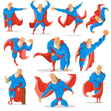 charismatic: Old charismatic hipster Superhero in different poses. Superhero in action. illustration