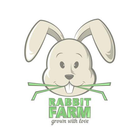 funy: Rabbit design illustration of rabbit eating grass Stock Photo