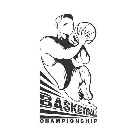 rebound: Vintage black and white basketball player silhouette. Basketbal poster designe.