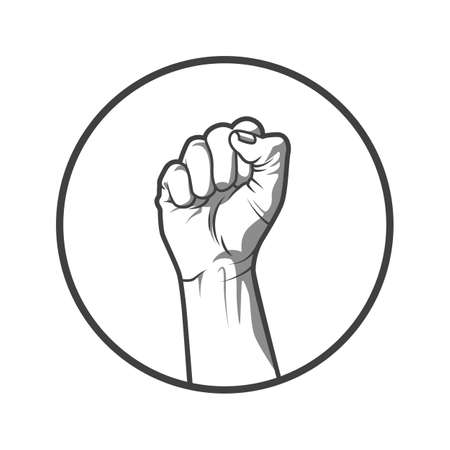 illustration in black and white style of a clenched fist held high in protest