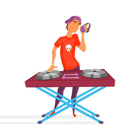 Cartoon teen dj. Boy playing. Young Dj wearing headphones and scratching a record on the turntable Illustration