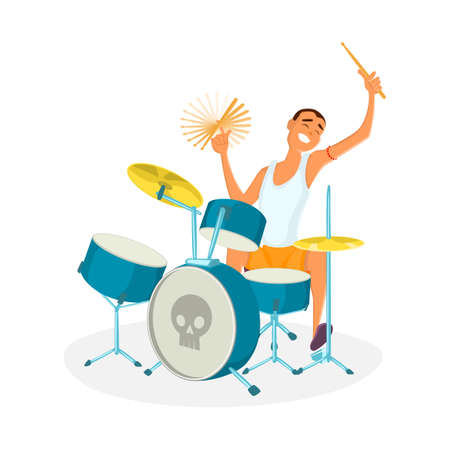 perform performance: Drummer playing drums. Teenage drum player. Cartoon vector illustration