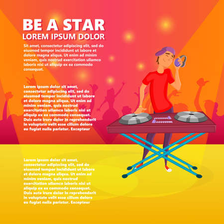 color mixing: Cartoon teen dj. Boy playing. Young Dj wearing headphones and scratching a record on the turntable Illustration