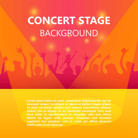concert crowd: Concert crowd, Music festival, Dancing People, Party poster with colorful background Illustration