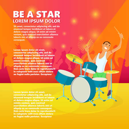 arts culture and entertainment: Drummer playing drums. Teenage drum player. Cartoon vector illustration
