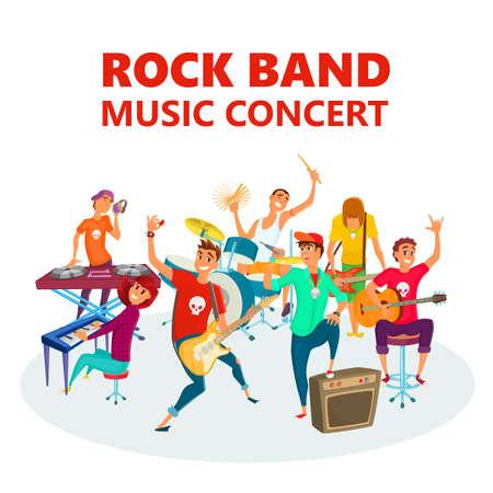 Cartoon Teenage Rock band. Concept music concert background vector illustration