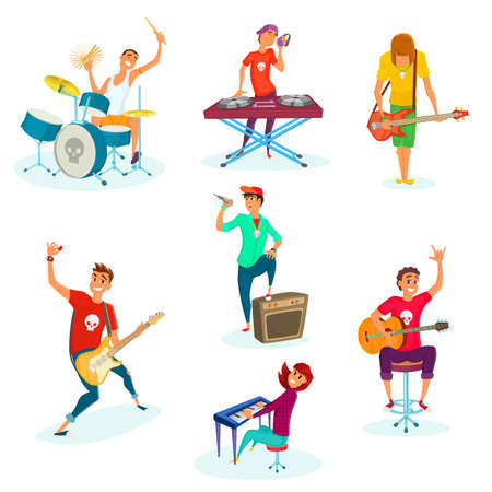 Cartoon rock teenage band set. Isolated on white. Young musicians characters. Stock Illustratie