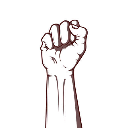 Vector illustration in black and white style of a clenched fist held high in protest. Ilustração