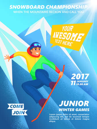 snowboarder: Snowboard championship event poster. Snowboarder jump. Vintage vector illustration of teenage snowboarder character on mountain background. Illustration