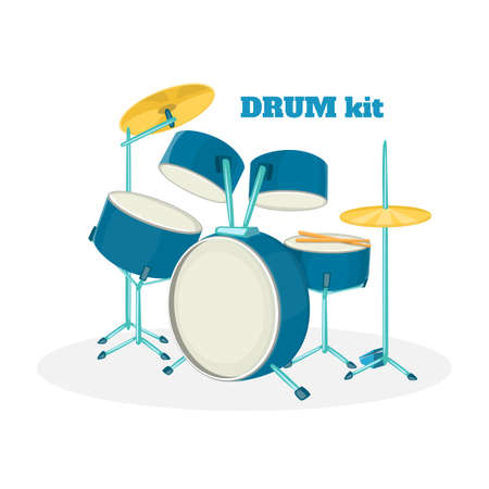 drumset: Cartoon drum kit in white background. Vector illustration