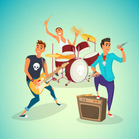 Rock band concer. Group creative young people playing instruments impressive performance. Cartoon vector illustration. Vettoriali