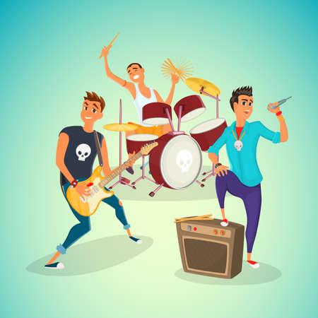 Roca concer banda. Grupo de jóvenes creativos que tocan los instrumentos rendimiento impresionante. ilustración vectorial de dibujos animados.