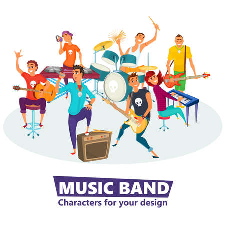 Cartoon music band. Concept music character design. Vector illustration. Vectores