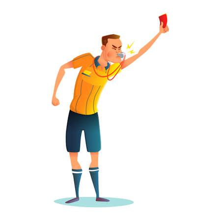 voetbal cartoon scheidsrechter character design. Rechter die rode kaart toont. Vectorillustratio. Vector Illustratie