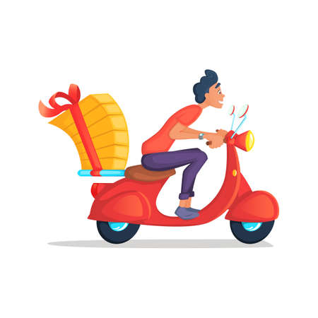 delivery boy: Delivery Boy Ride Scooter Motorcycle Service, Order, Worldwide Shipping, Fast and Free Transport. Cartoon vector illustration