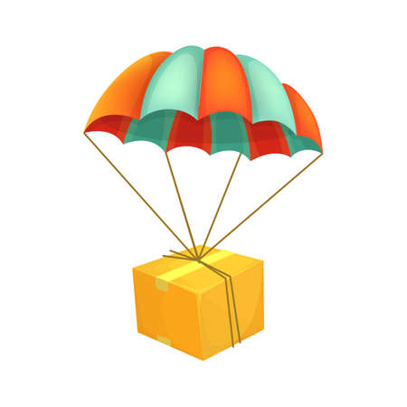 Package flying on parachute. Air shipping. Box vector icon. Delivery service concept. Cartoon style illustration.