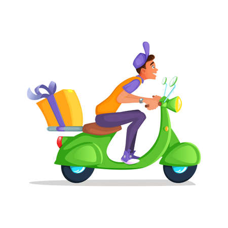 Delivery Boy Ride Scooter Motorcycle Service, Order, Worldwide Shipping, Fast and Free Transport. Cartoon vector illustration