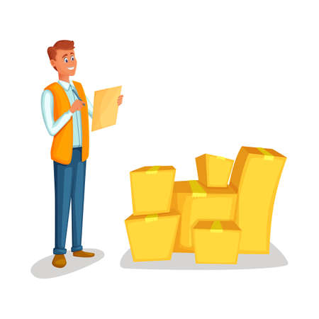 Warehouse worker checking goods. Concept courier character deliver boxes. Cartoon style vector illustration isolated on white background. Delivery man with the tablet counts the cargo