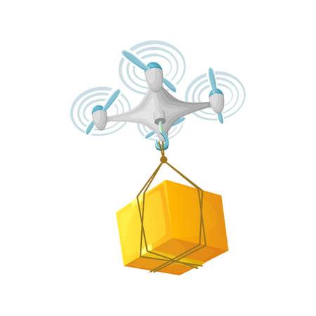 Diseño de concepto de entrega de Drone. Ilustración vectorial de dibujos animados moderno. Quadcopter transporte de mercancías