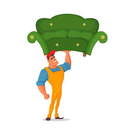 Illustration vectorielle de dessin animé. Chargeur tenant dans une main un canapé. Le concept de design caractérise l'employé des marchandises d'expédition, de transport et d'entreposage Vecteurs