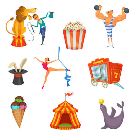 Traveling ircus. Cartoon collection of objects and characters design. Vector illustration.